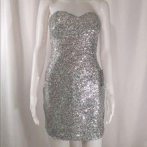 Short Silver Arden B Sparkly Dress